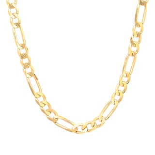 Sterling Essentials 14k Gold over Silver 6 mm Diamond-cut Figaro Chain (18-30 Inch)