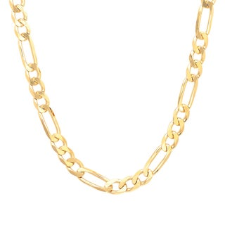 Sterling Essentials Gold Over Silver 6 Mm Diamond-Cut Figaro Chain (18-30 Inch) (2 options available)