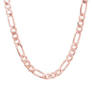 Sterling Essentials Rose Gold over Silver 6 mm Diamond-cut Figaro Chain (18-30 Inch)
