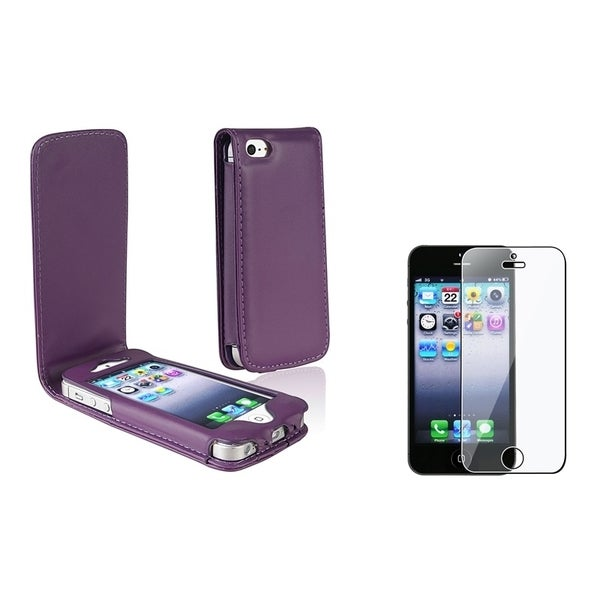 BasAcc Leather Wallet/Reusable Screen Protector for Apple iPhone 5/ 5S