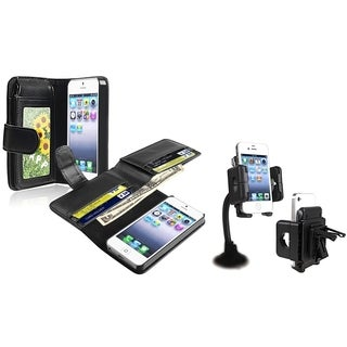 INSTEN Leather Wallet/ Swivel Windshield Holder for Apple iPhone 5/ 5S