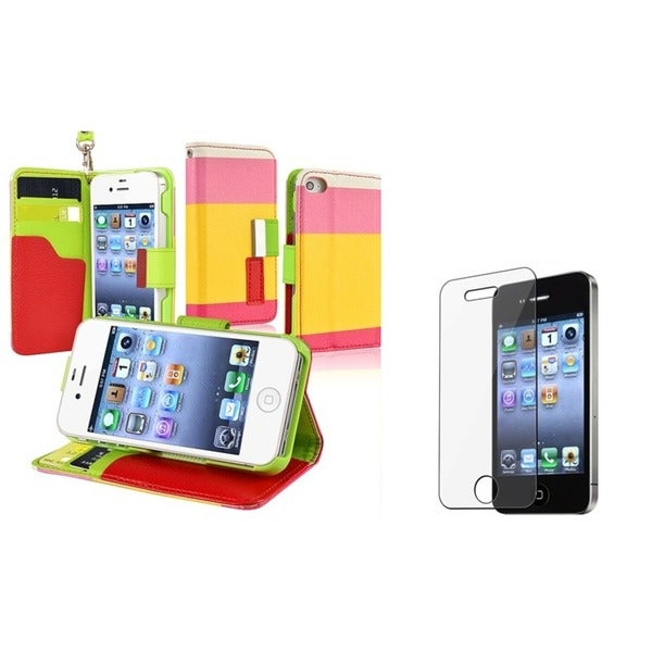 INSTEN Wallet Phone Case Cover/ Reusable Screen Protector for Apple iPhone 4/ 4S