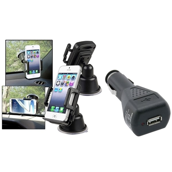 INSTEN Universal Suction Mount In Car Holder/ USB Car Charger Adapter