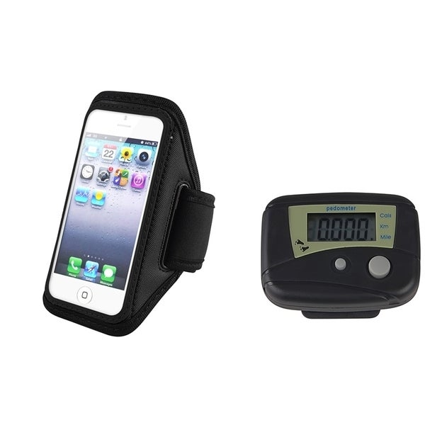 INSTEN Pedometer/ Black Armband Phone Case Cover for Apple iPhone 5