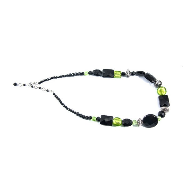 Polished Black Onyx Necklace with Green and Silver Beads (China)