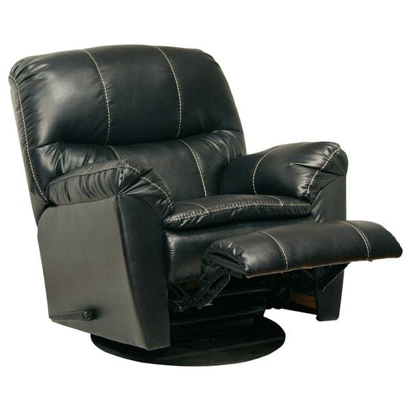 Catnapper Cosmo Black Bonded Leather Swivel Glider ...