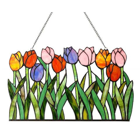 Chloe Tiffany-Style Tulip Design Window Panel