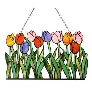 Chloe Tiffany-Style Tulip Design Window Panel