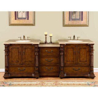 Silkroad Exclusive English Chestnut 90 Inch Stone Top Double Sink Bathroom Vanity Free