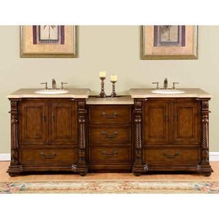 Silkroad Exclusive 92-Inch Travertine Stone Top Bathroom Double Sink Vanity