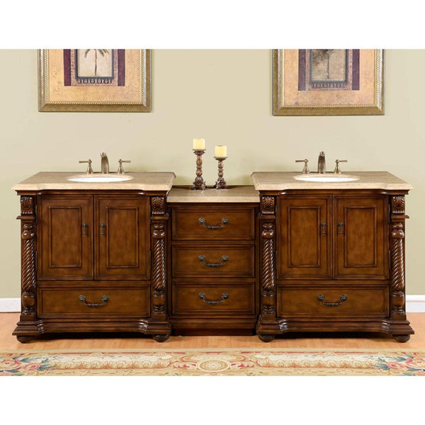shop silkroad exclusive 92 inch travertine stone top bathroom double sink vanity free shipping