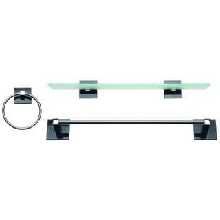 Spa Chrome/ Black Glass 3-piece Bathroom Accessory Set