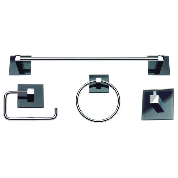 Shop spa chrome black glass 4 piece bathroom accessory set free shipping today overstock for Black and chrome bathroom accessories