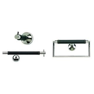 Zanzibar Chrome/ Black Leather 3-piece Bathroom Accessory Set