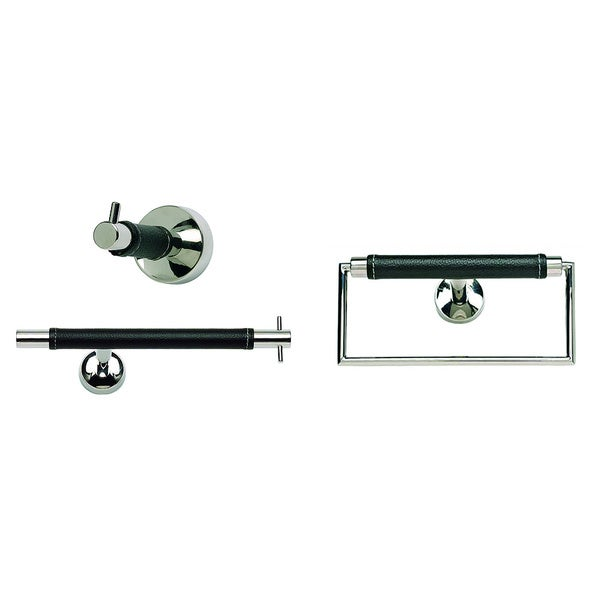 Zanzibar Chrome Black Leather 3 Piece Bathroom Accessory Set Free Shipping Today Overstock