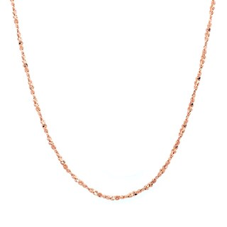 Sterling Essentials Rose Gold over Silver 1 mm Twisted Serpentine Chain (16-20 Inch)