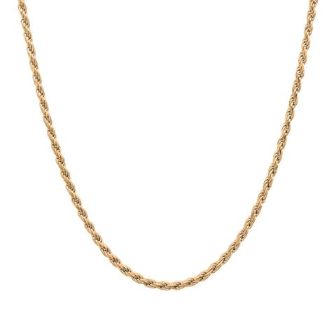 Roberto Martinez Gold Plated Silver 1.5 mm Italian Diamond-cut Rope Chain (16-30 Inch) - Yellow