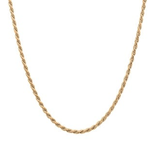 Gold Plated Silver 1.5 mm Italian Diamond-cut Rope Chain (16-30 Inch) - Yellow