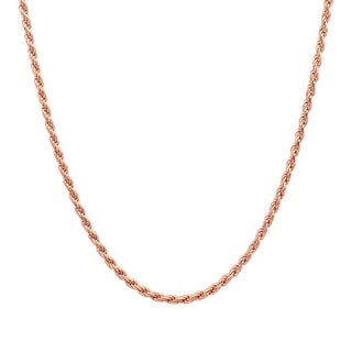 Sterling Essentials 14k Rose Gold over Silver Diamond-cut Rope Chain (1.5mm)