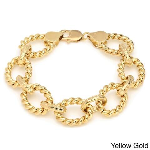 Sterling Essentials Gold over Bronze 7.5-inch Cable Oval Link Bracelet