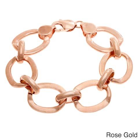 Sterling Essentials Gold over Bronze 7.5-inch O-link Bracelet