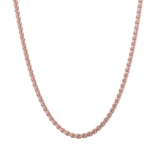Sterling Essentials Italian Rose Gold over Silver 1.5 mm Wheat Chain (16-24 Inch)