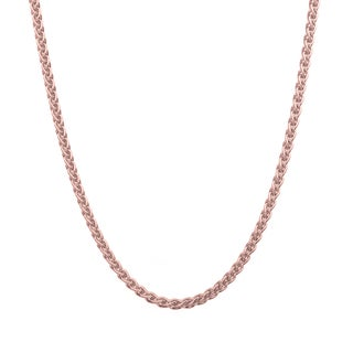 Sterling Essentials Italian Rose Gold over Silver 1.5 mm Wheat Chain (16-24 Inch) (4 options available)