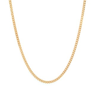 Sterling Essentials 14k Gold over Silver 1.25 mm Curb Chain (16-24 Inch)
