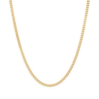 Yellow Gold Plated Silver 1.25 mm Curb Chain (16-24 Inch) (3 options available)