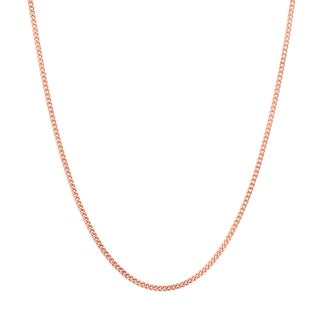 Sterling Essentials Rose Gold over Silver 1.25 mm Curb Chain (16-24 Inch)