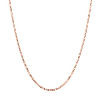 Rose Gold Plated Silver 1.25 mm Curb Chain (16-24 Inch) - Pink