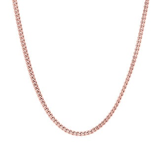 Sterling Essentials Rose Gold over Silver 2 mm Curb Chain (16-24 Inch)
