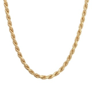 Yellow Gold Plated Silver 3 mm Diamond-cut Rope Chain (18-30 Inch)