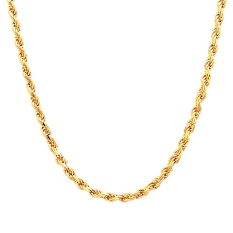 Roberto Martinez Gold Plated Silver Diamond-cut Rope Chain (2.25mm) - Yellow
