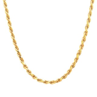 Sterling Essentials 14k Gold over Silver Diamond-cut Rope Chain (2.25mm) - Yellow