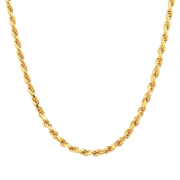 Roberto Martinez Gold Plated Silver 2.25 mm Diamond-cut Rope Chain (16-30 Inch) - Yellow