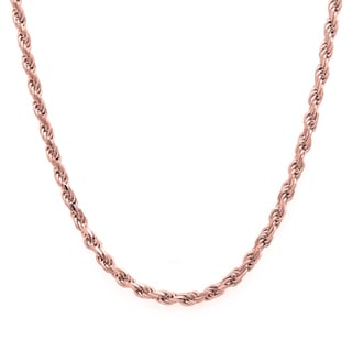 Sterling Essentials 14k Rose Gold over Silver Diamond-cut Rope Chain (2.25 mm) (Option: 30 Inch)