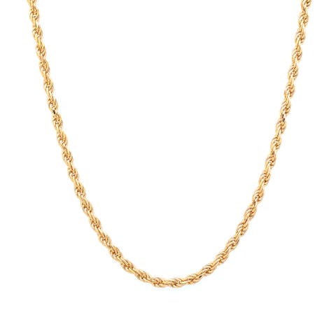 Roberto Martinez Gold Plated Silver 1.8 mm Diamond-cut Rope Chain (16-30 Inch)