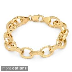 Sterling Essentials Gold over Bronze 7.5-inch Hammered Oval Link Bracelet
