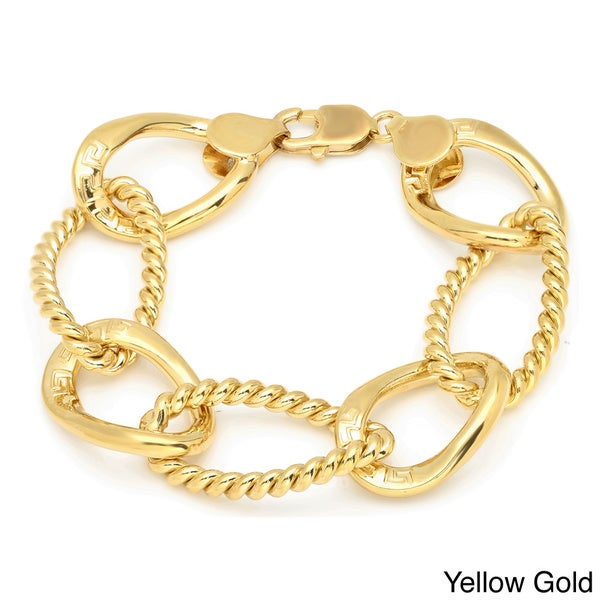 Sterling Essentials Gold over Bronze 7.5-inch Cable Greek Key Oval Link Bracelet