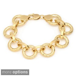 Gold over Bronze 7.5-lnch Greek Key Circle Link Bracelet