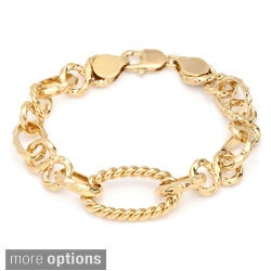 Sterling Essentials Gold over Bronze 7.5-inch Solo Cable Link Bracelet