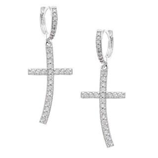 Sterling Essentials Silver Cubic Zirconia Cross Earrings