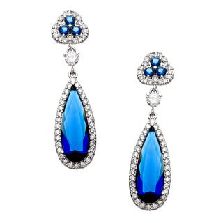 Sterling Essentials Silver Royal Blue Cubic Zirconia Drop Earrings
