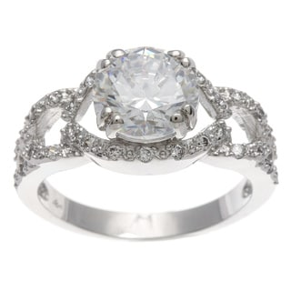 Sterling Essentials Silver Round CZ Neo-vintage Engagement-style Ring