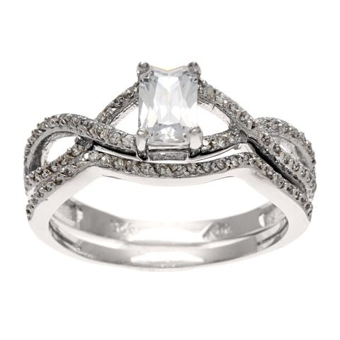 Roberto Martinez Silver CZ Neo-vintage Bridal-style Ring Set