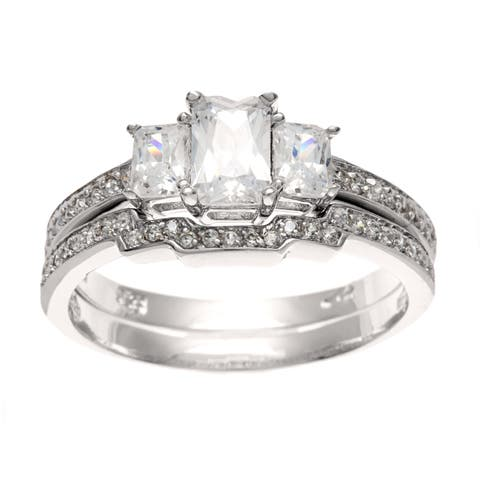 Roberto Martinez Silver CZ 3-stone Deco Bridal-style Ring Set