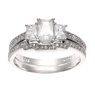 Sterling Essentials Silver CZ 3-stone Deco Bridal-style Ring Set