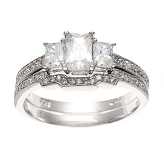 Sterling Silver CZ 3-stone Deco Bridal-style Ring Set