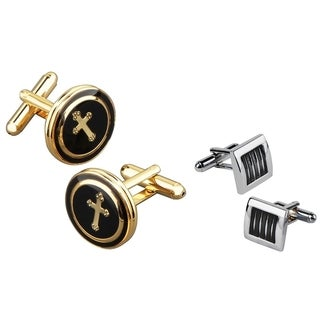 Zodaca Goldtone Black Copper Round with a Cross/ Black Silver Square Cufflink Set
